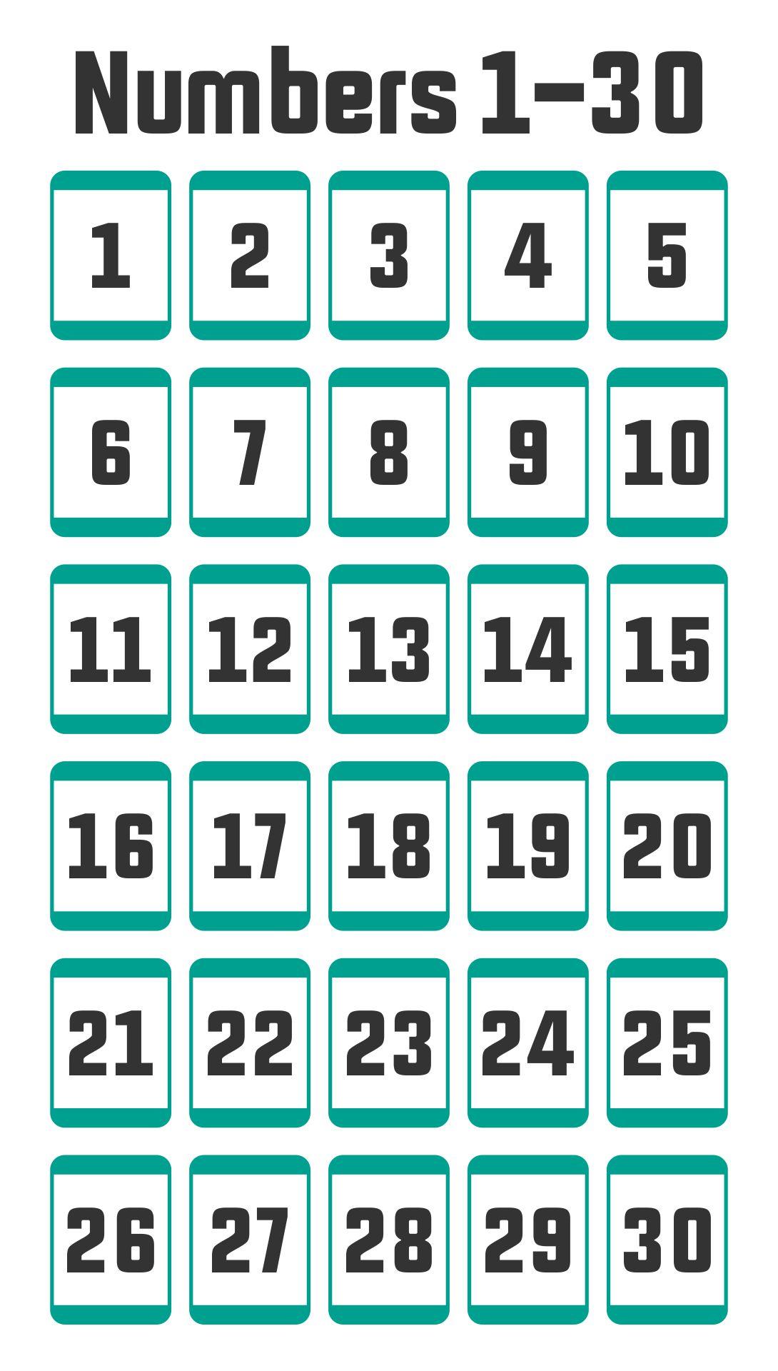 Numbers 1-30 For Kids Free Printable