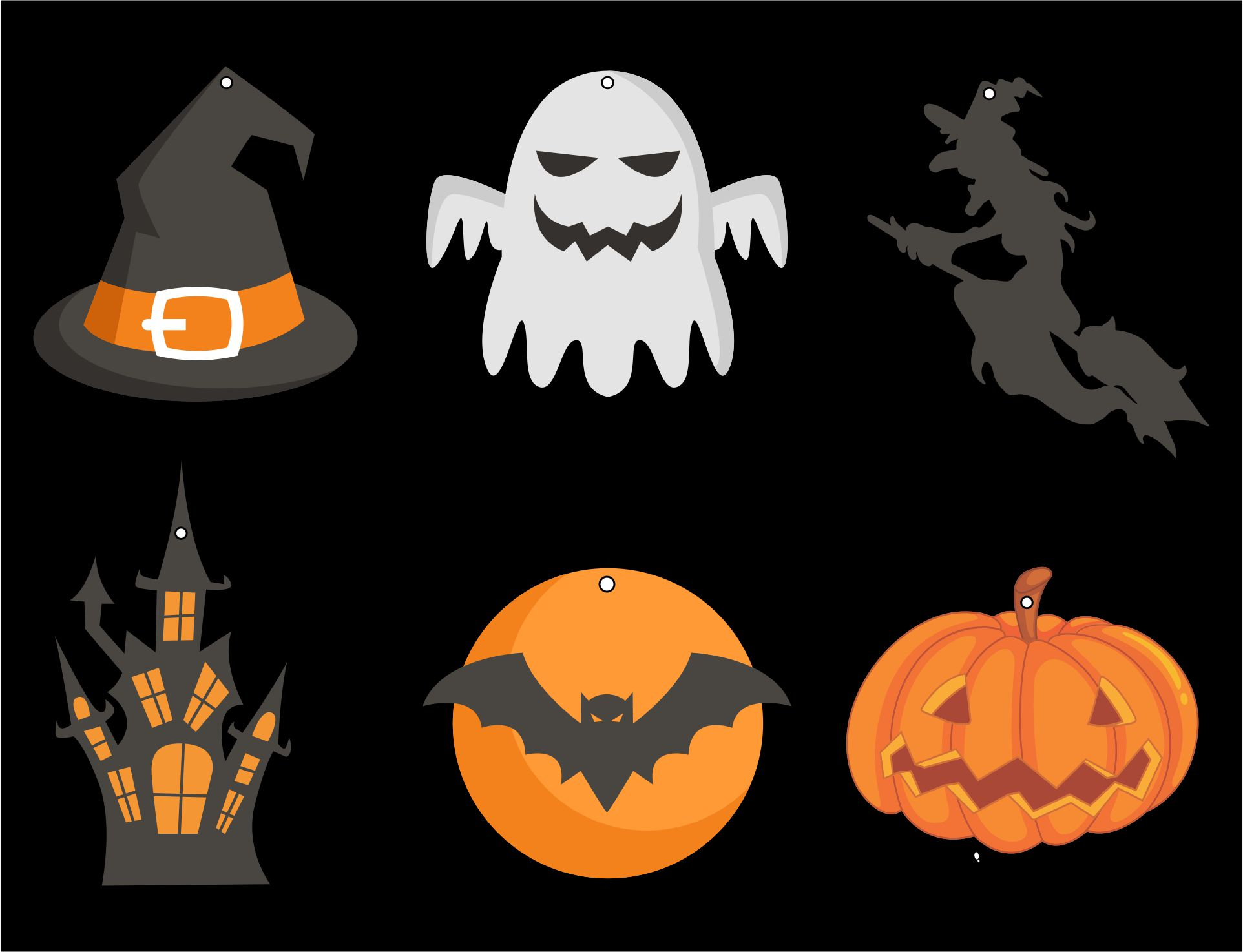 Objects Of Halloween Day In Paper Cut Out Hanging On Black Background
