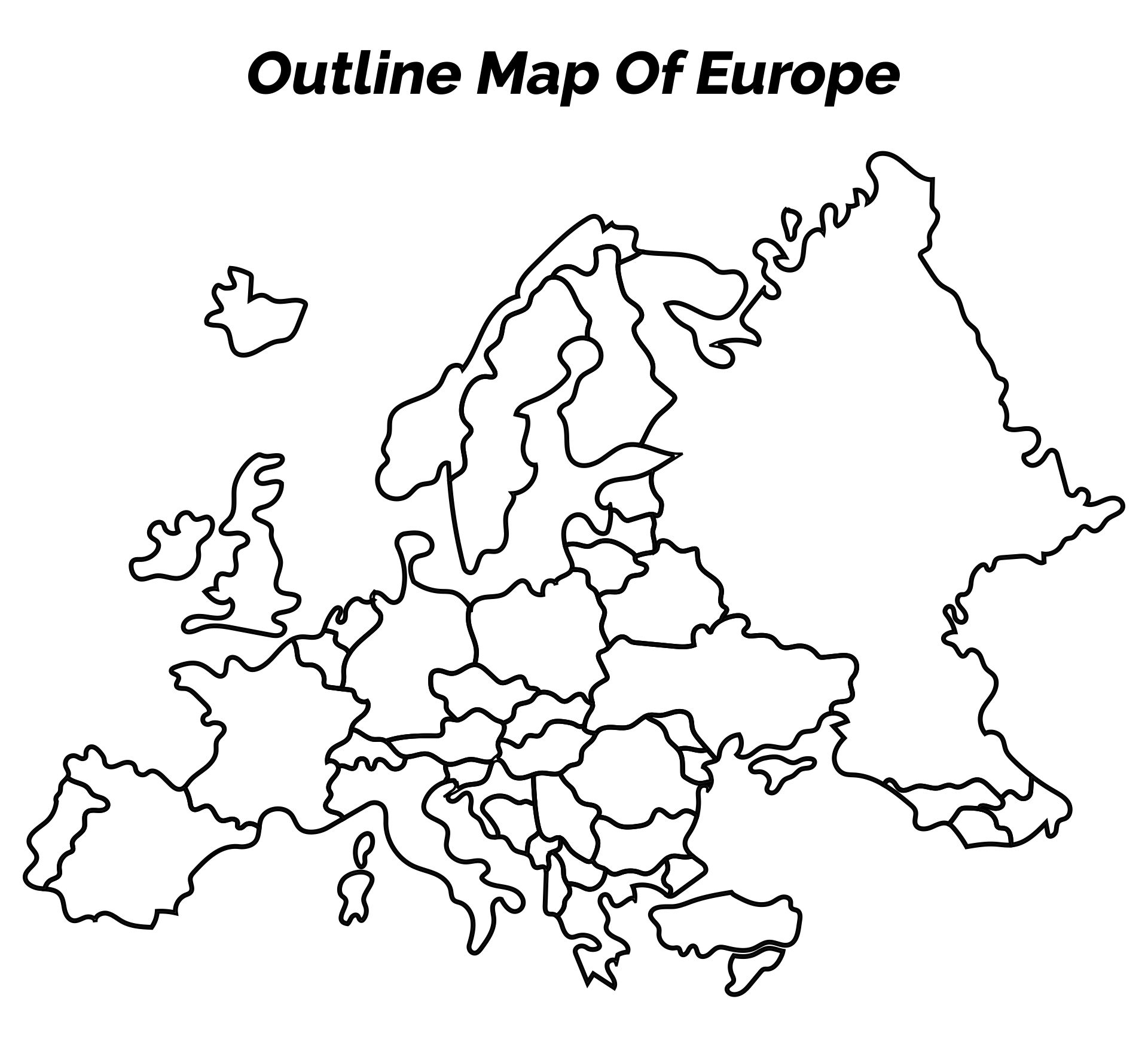 Outline Map Of Europe Printable