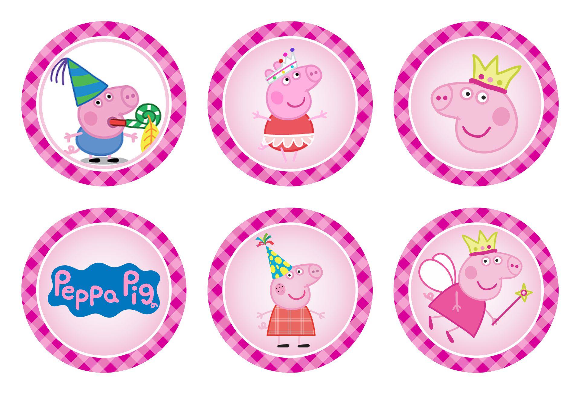 Peppa Pig Cupcake Toppers Birthday Printable