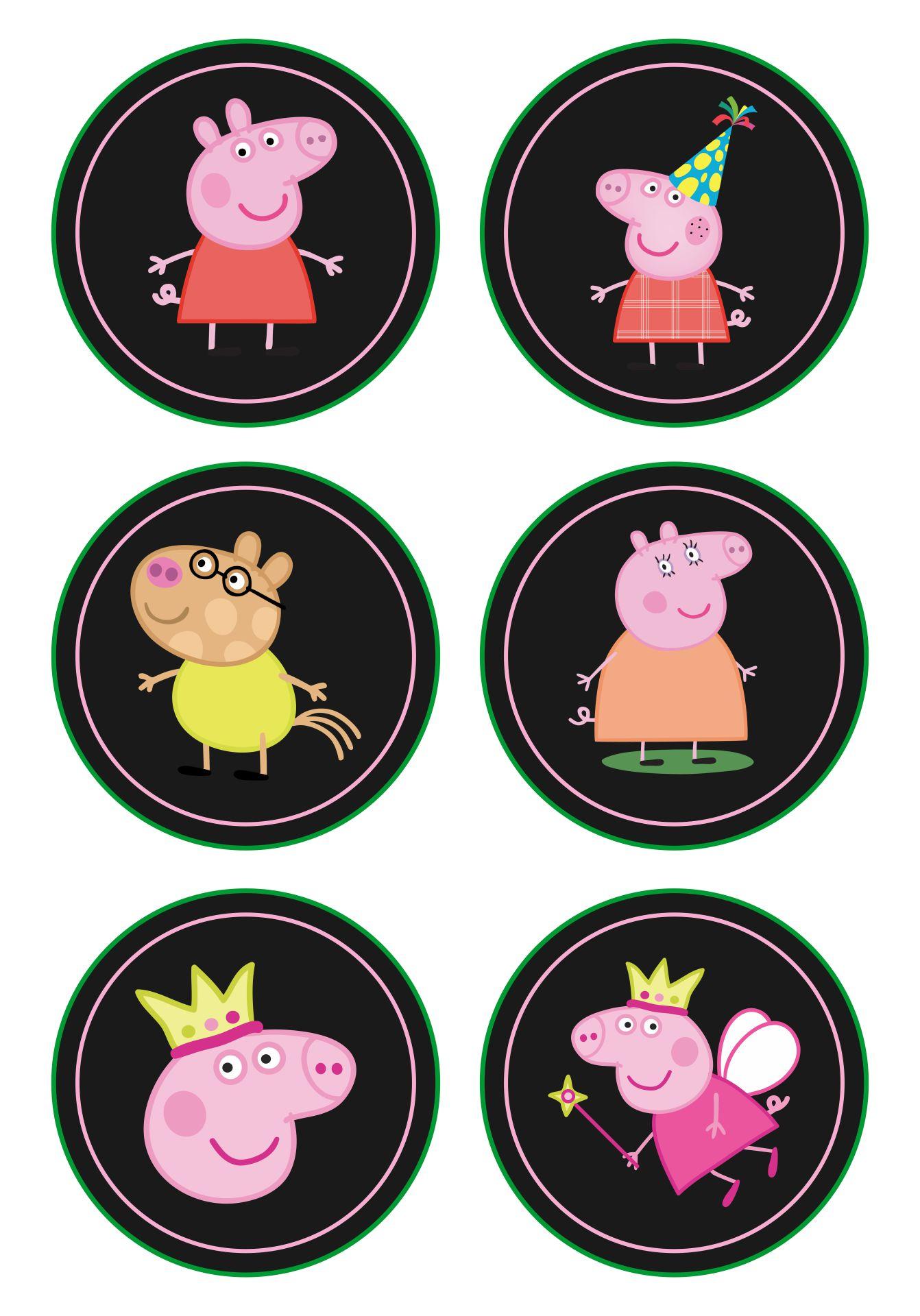 Peppa Pig Cupcake Toppers Chalkboard Printable