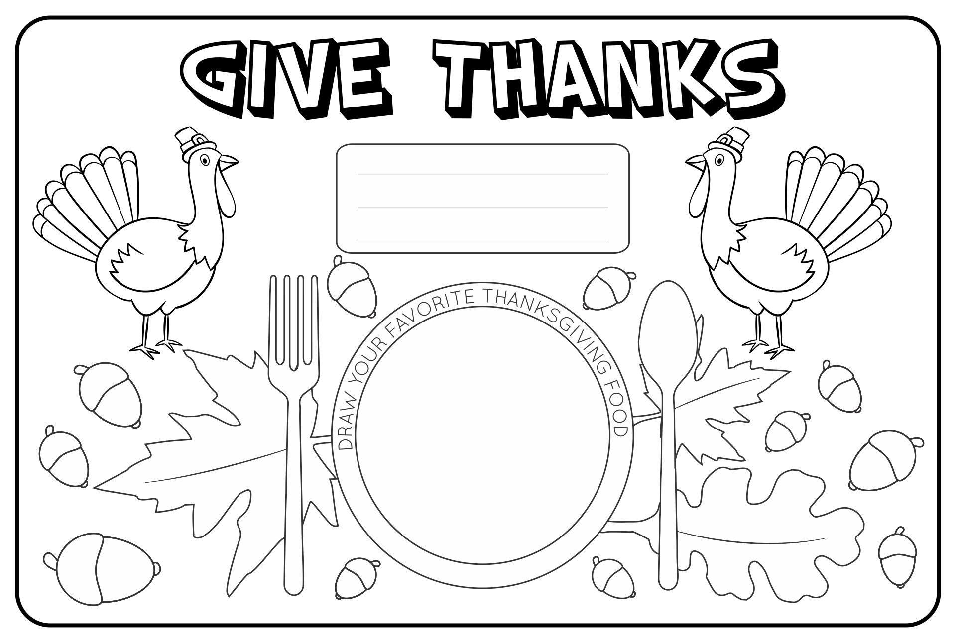 Preschool Thanksgiving Placemats Printables