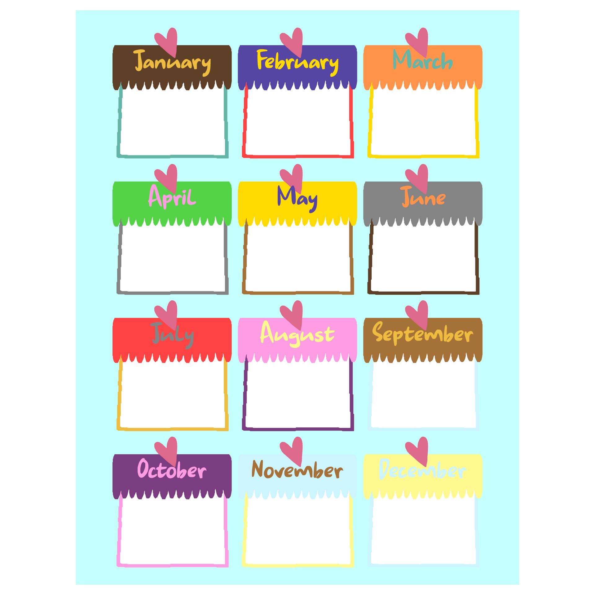Printable Birthday Charts Kindergarten Classroom