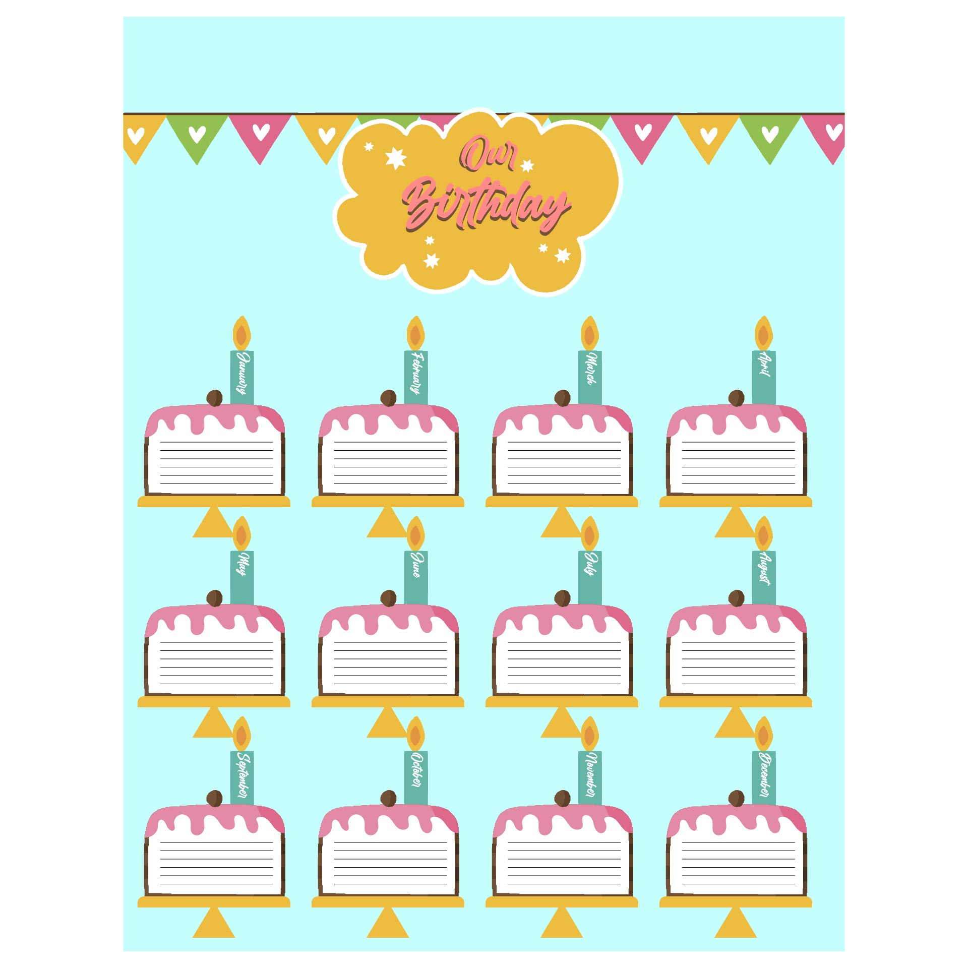 Printable Birthday Wall Charts Classroom