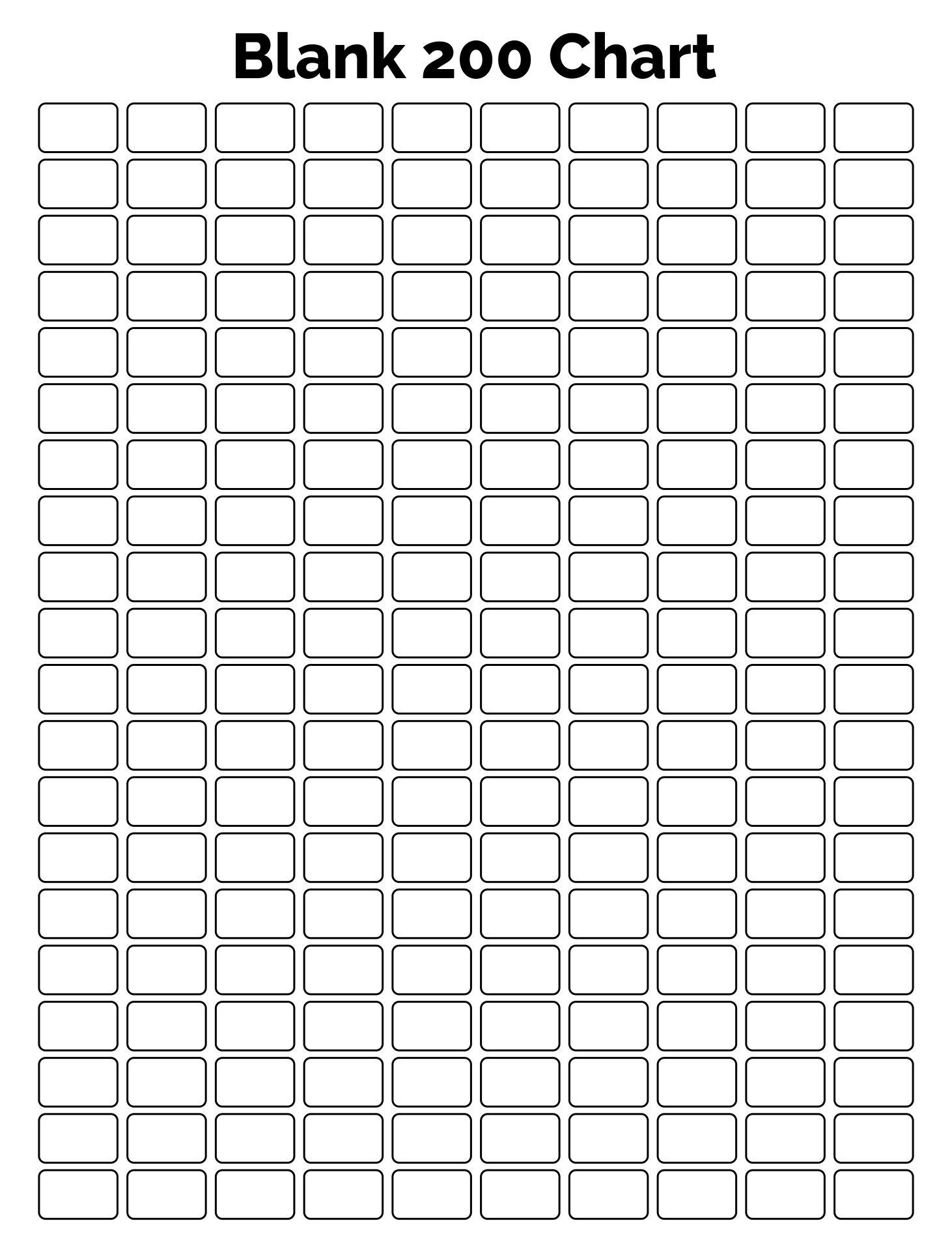Printable Blank 200 Chart