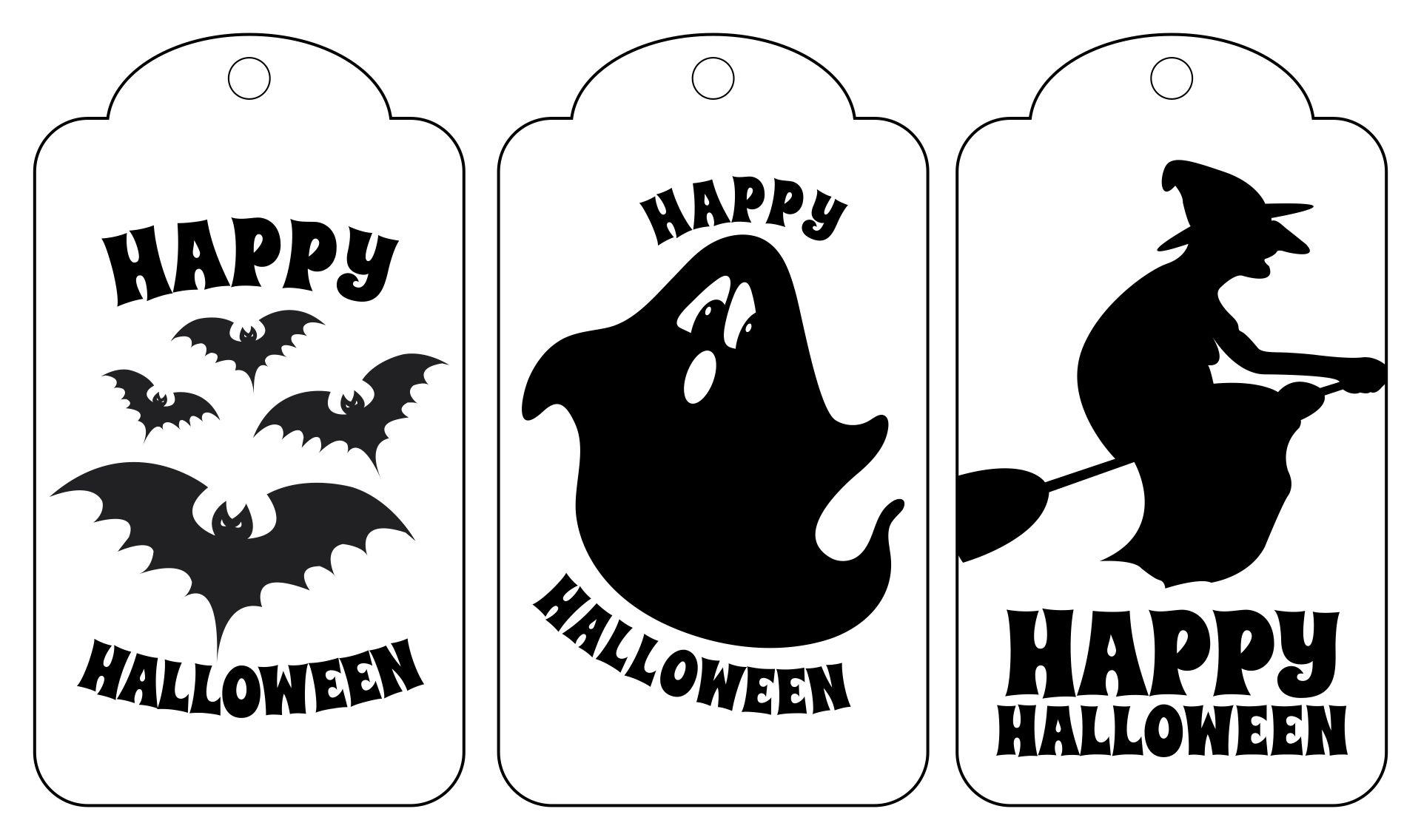 Printable Halloween Tags Black And White