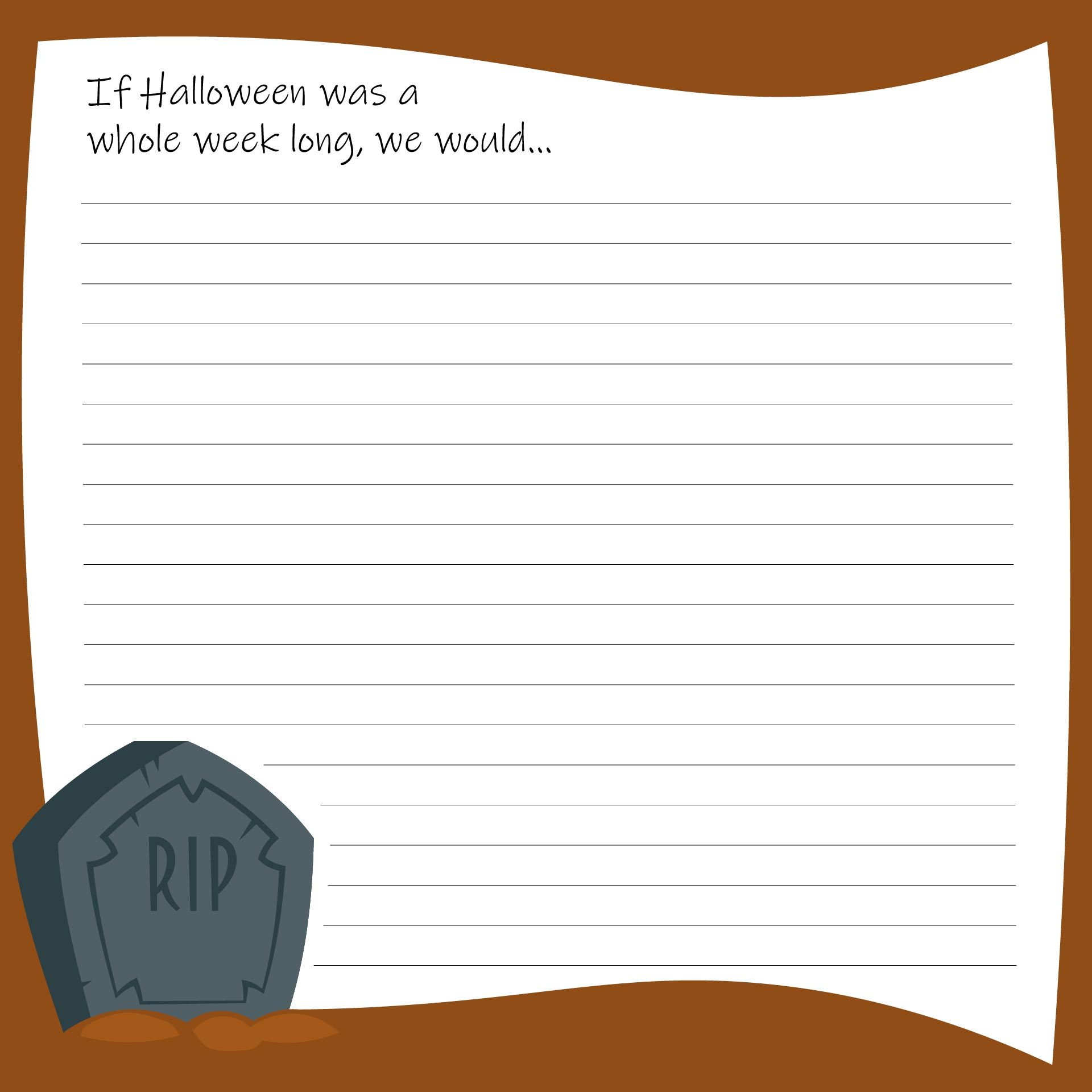 Printable Halloween Writing Prompts For Kindergarten