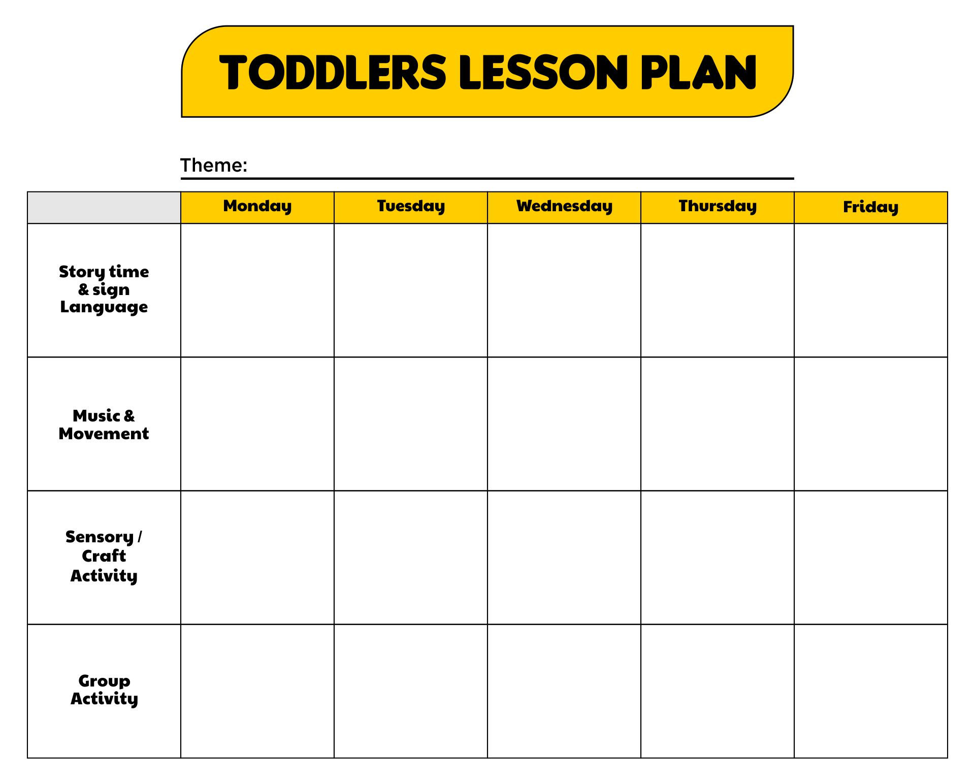 Printable Lesson Plans For Toddlers