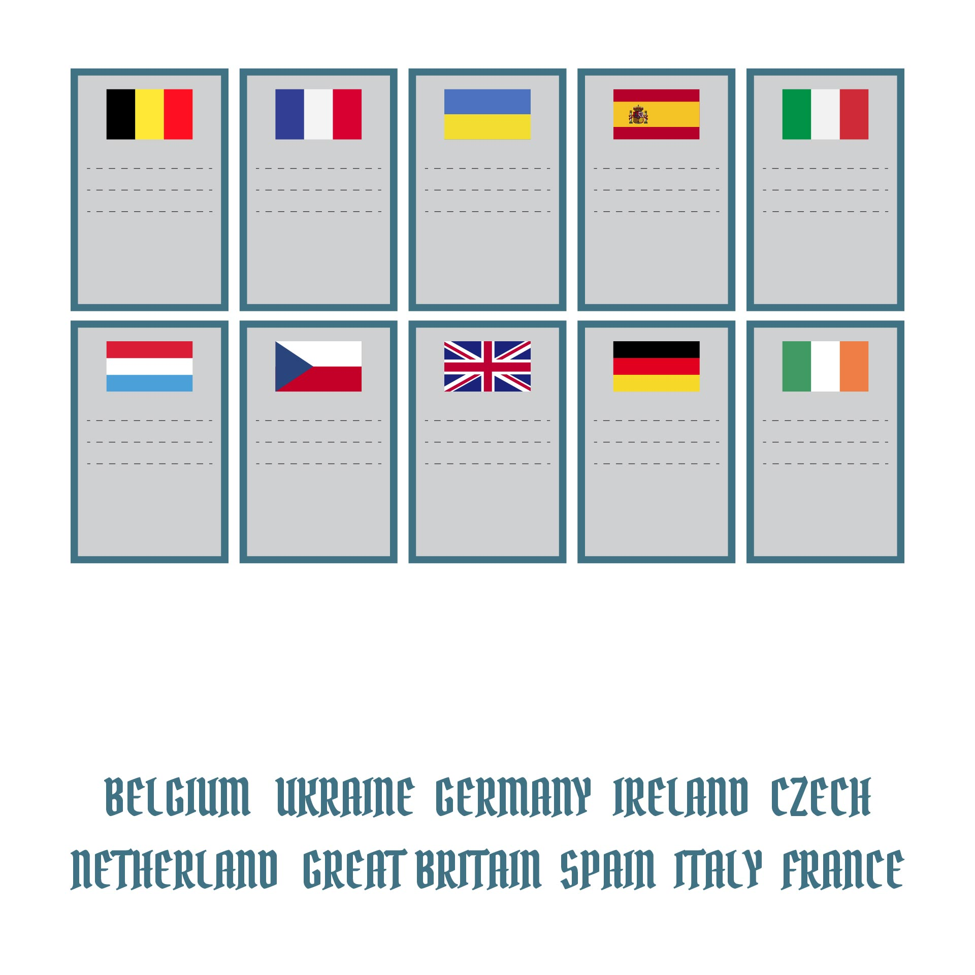 Printable Matching Game For Seniors With Countries Flags Print And Cut Out The Cards