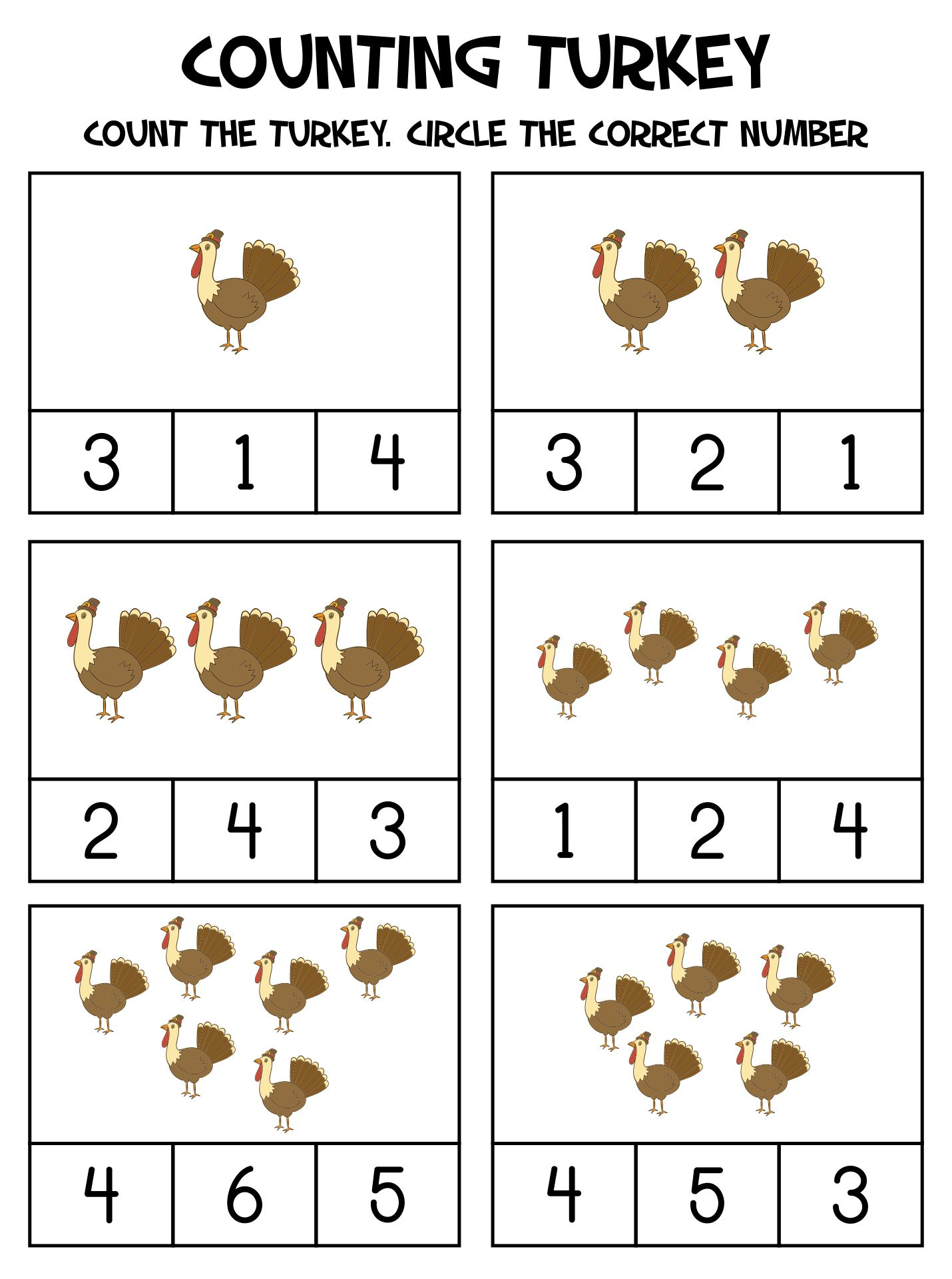 Printable Math & Literacy Thanksgiving Preschool Worksheets