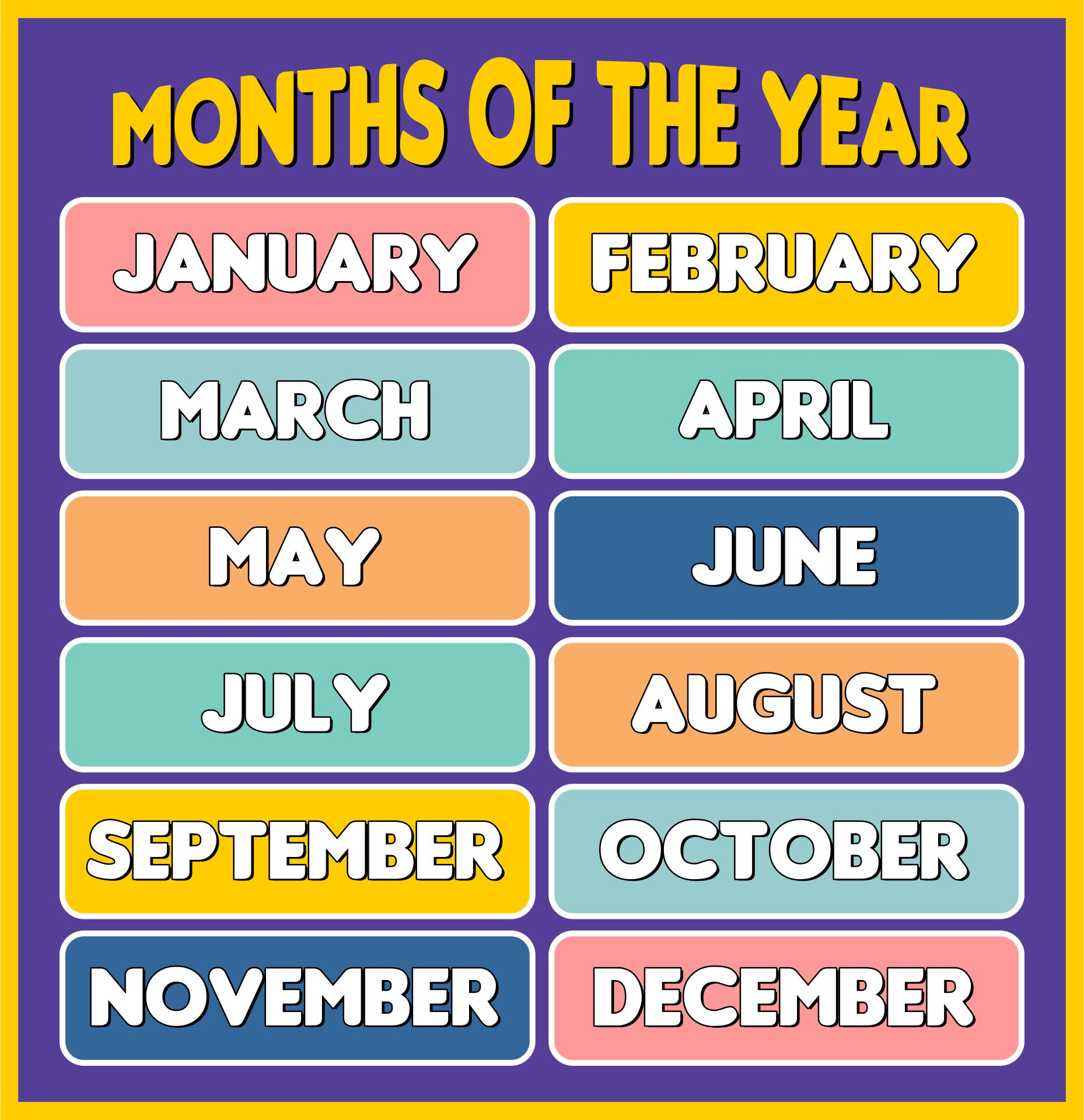 Printable Months Of The Year Chart