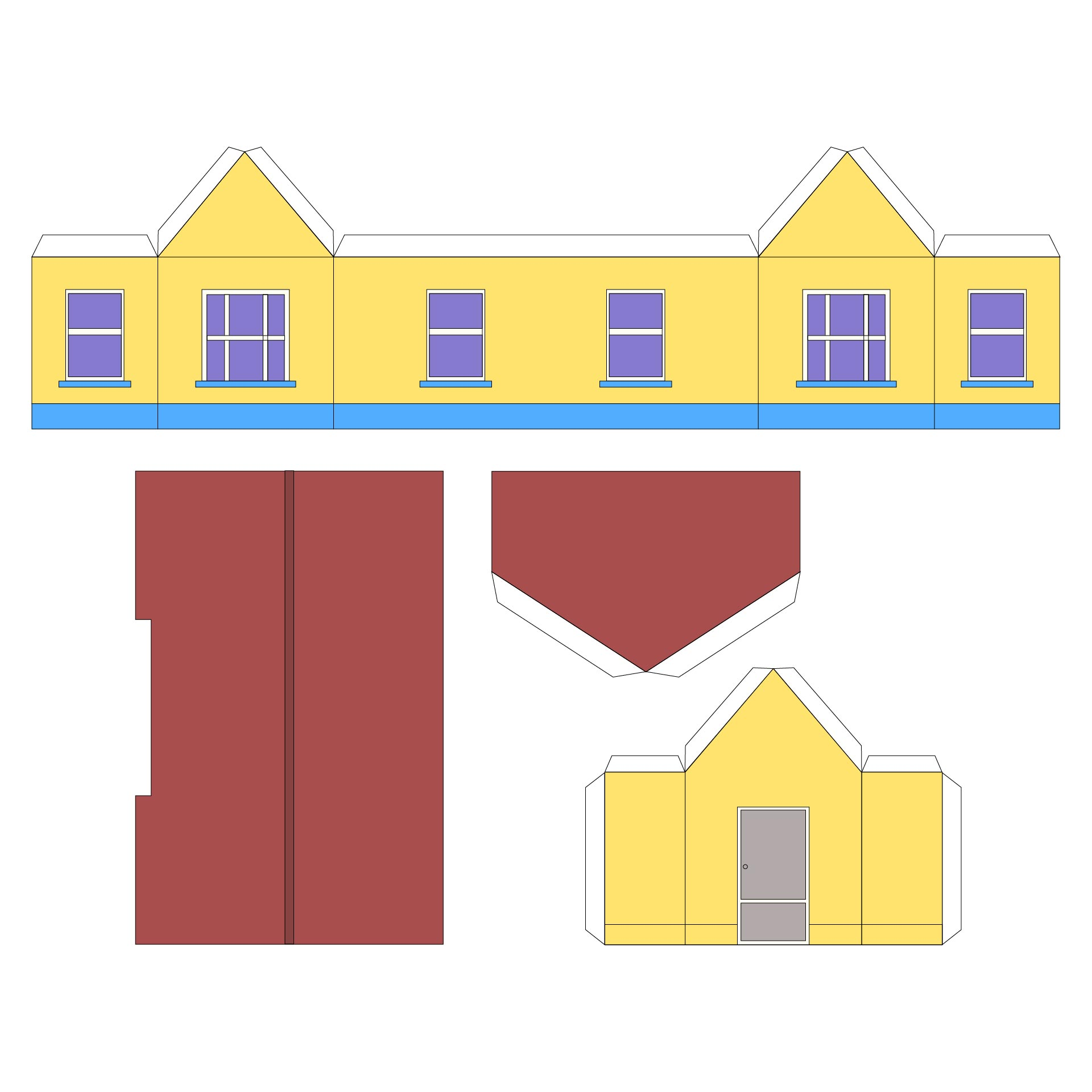 Printable Paper Folding House Template