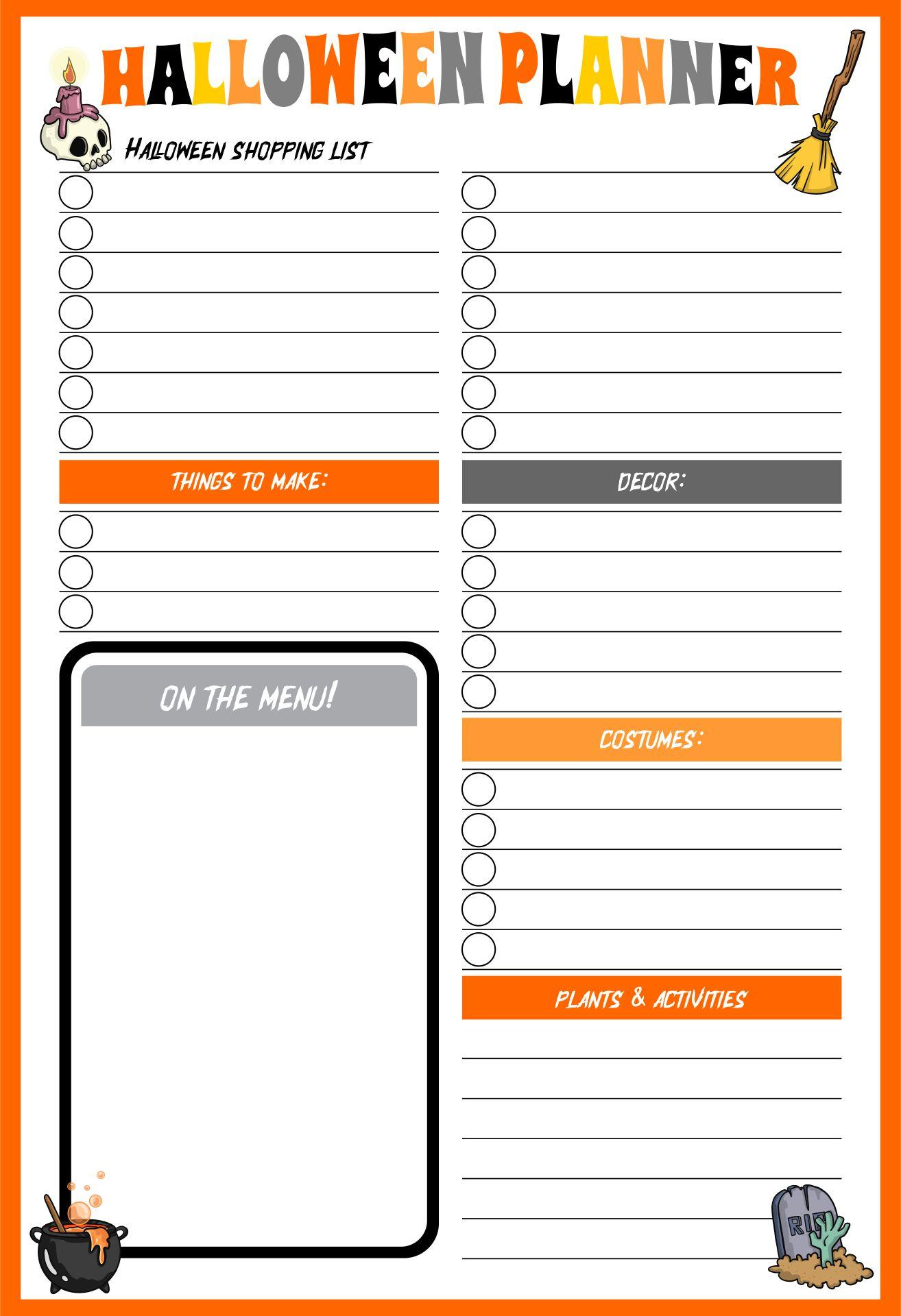 Printables Halloween Event Planner
