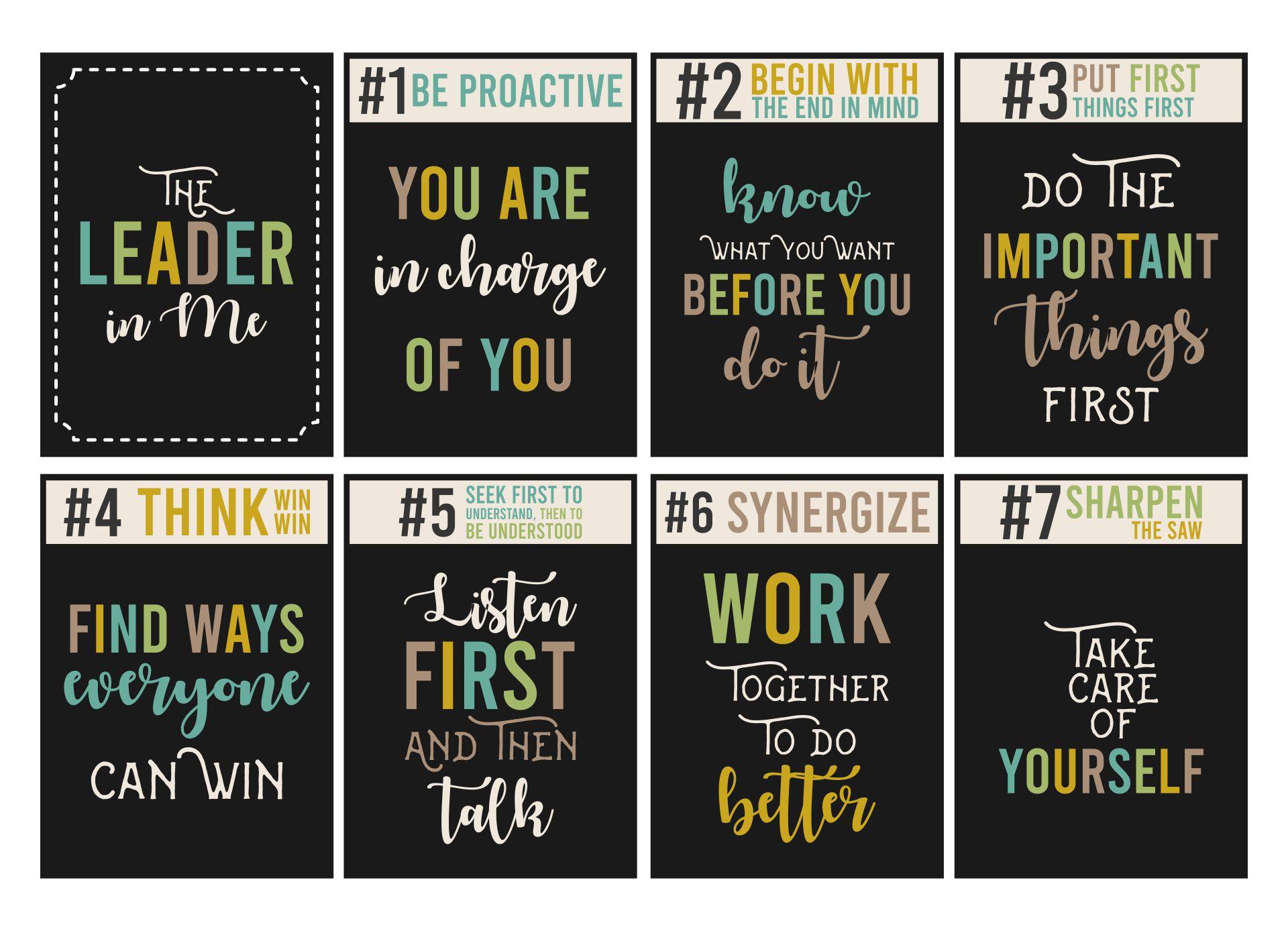 The Leader In Me Chalkboard Posters Printable