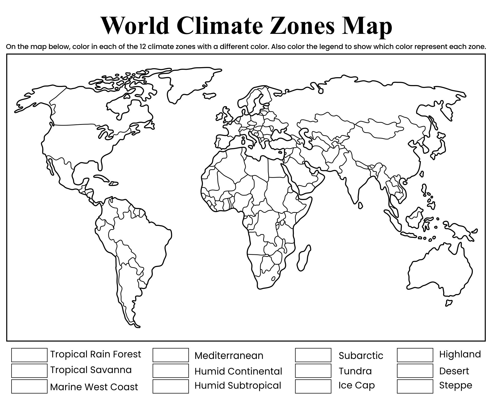 World Climate Zones Map Worksheet