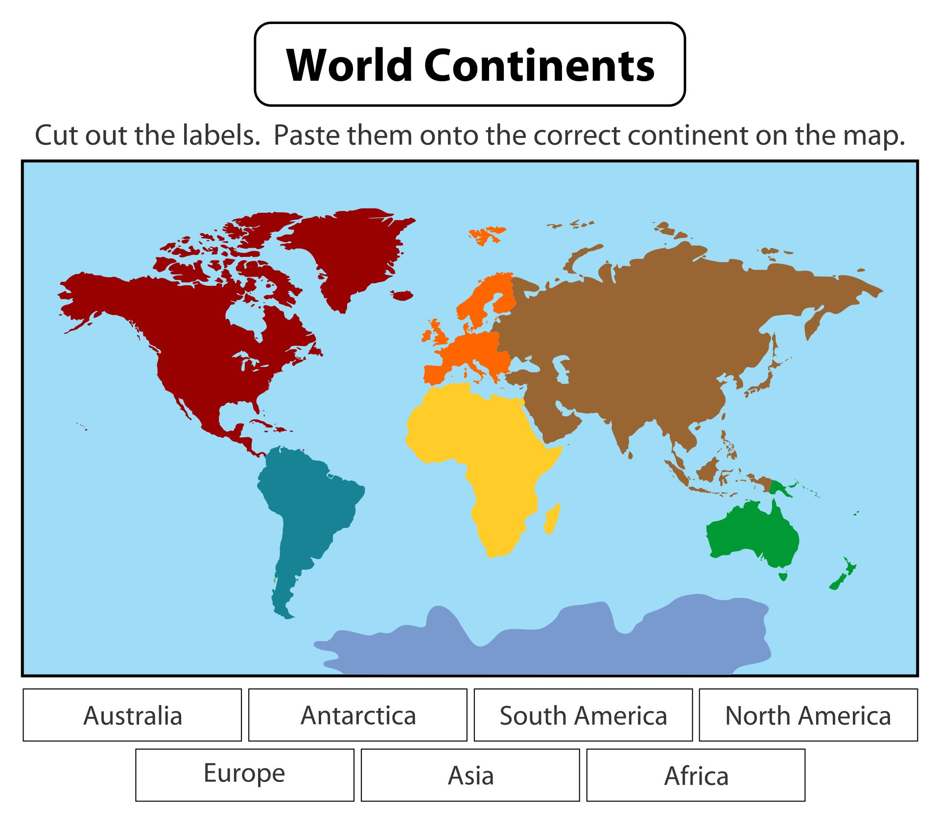 World Map Labeling Worksheet Printable