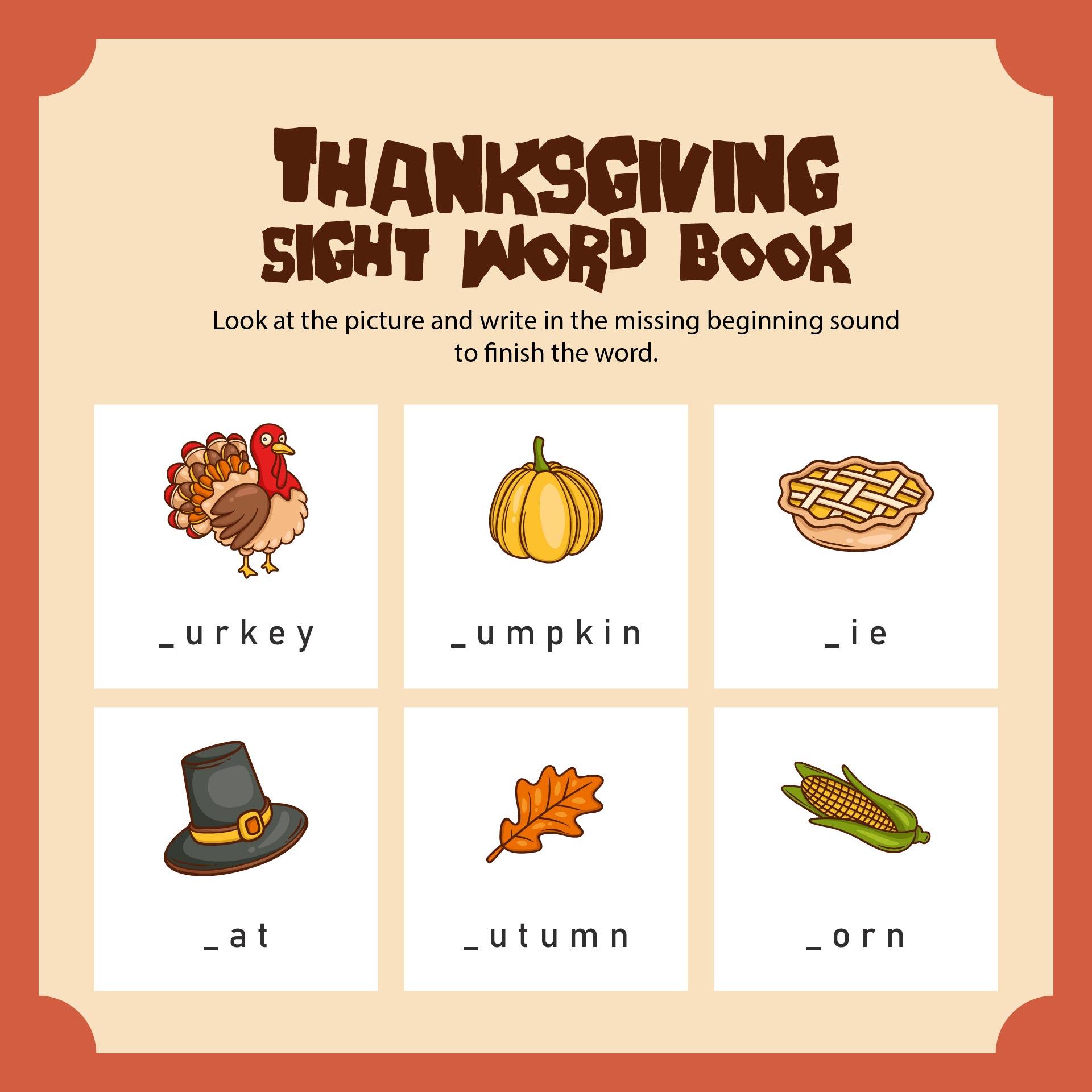 Fall November Thanksgiving Worksheets For Kindergarten