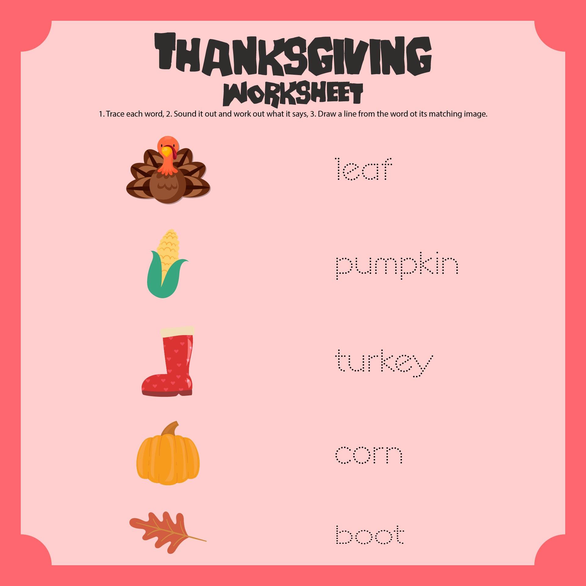 Printable Thanksgiving Worksheets For Preschoolers