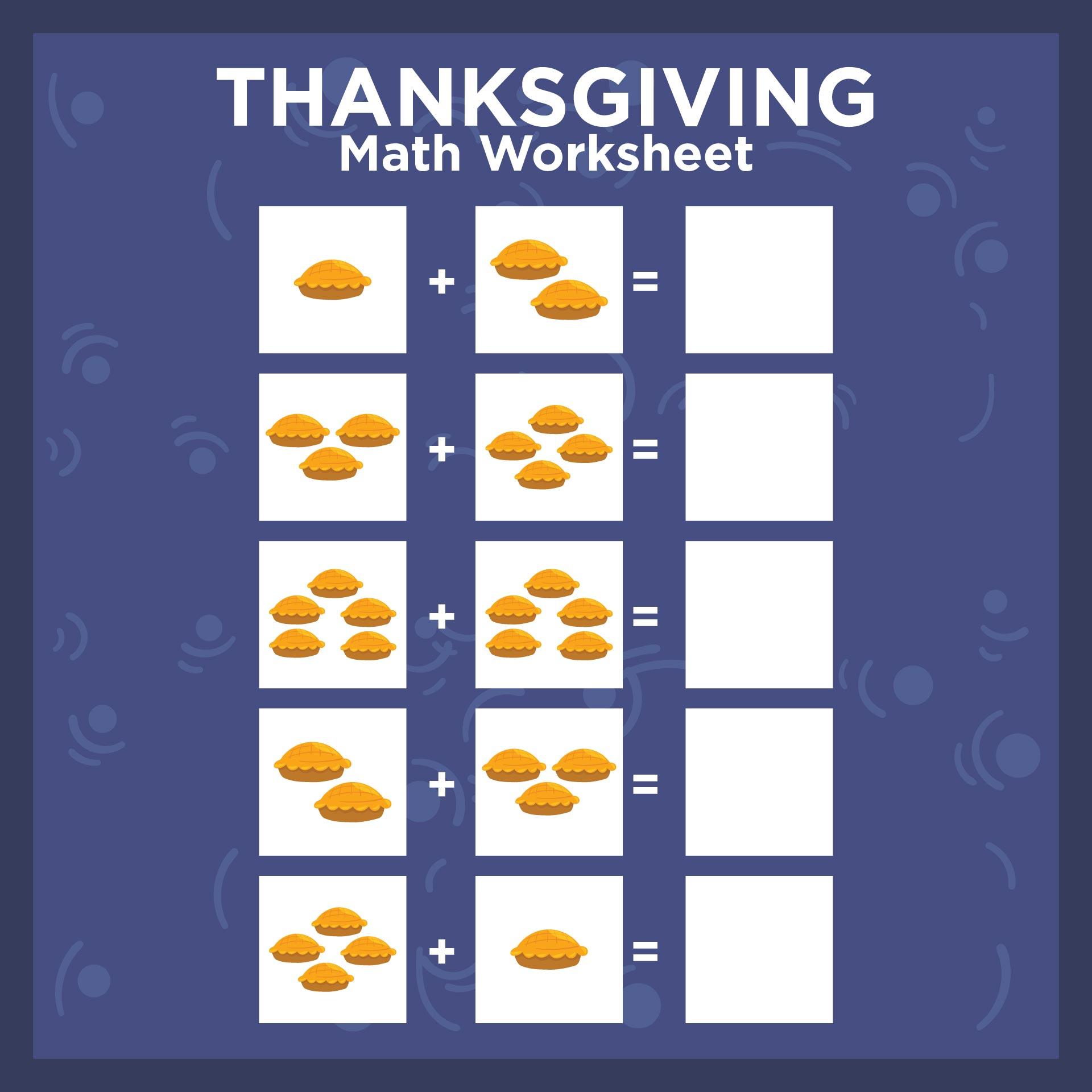 Thanksgiving Math Worksheets For Kindergarten