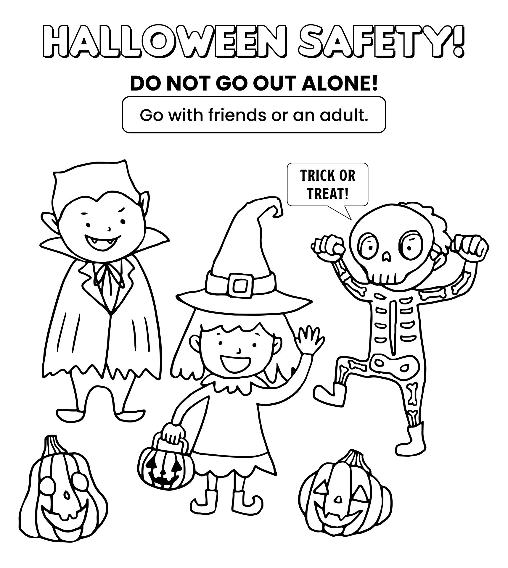 Trick-or-Treat Safety And Coloring Page