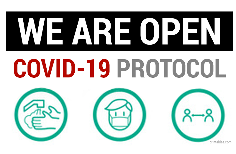 10 We Are Open with Covid-19 Protocol Printable Sign for Your Business