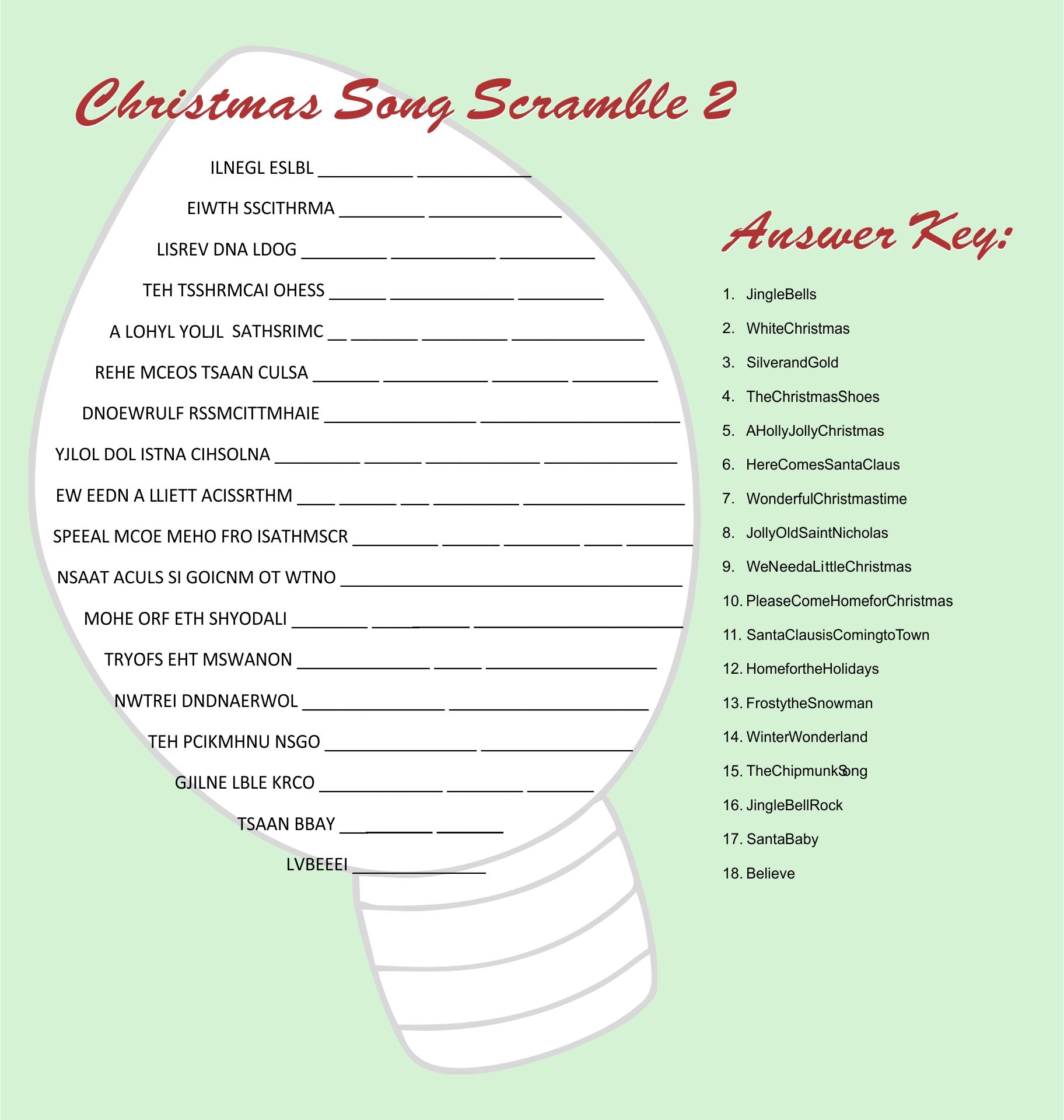 6 Images of Printable Christmas Song Scramble