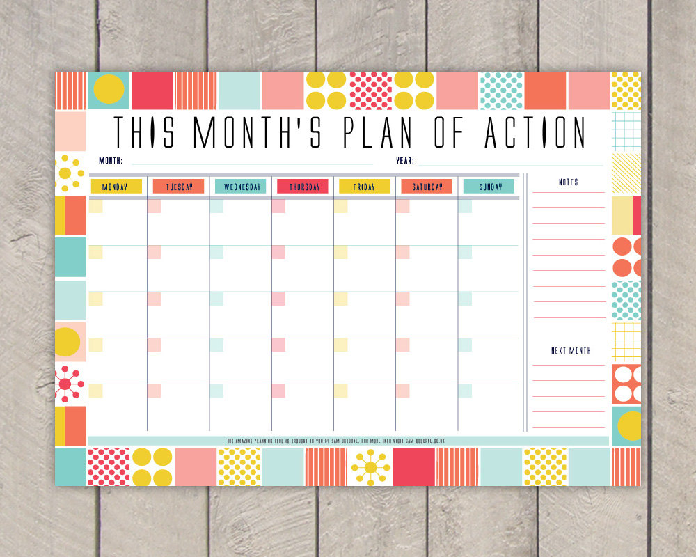 2014 Monthly Planner Template