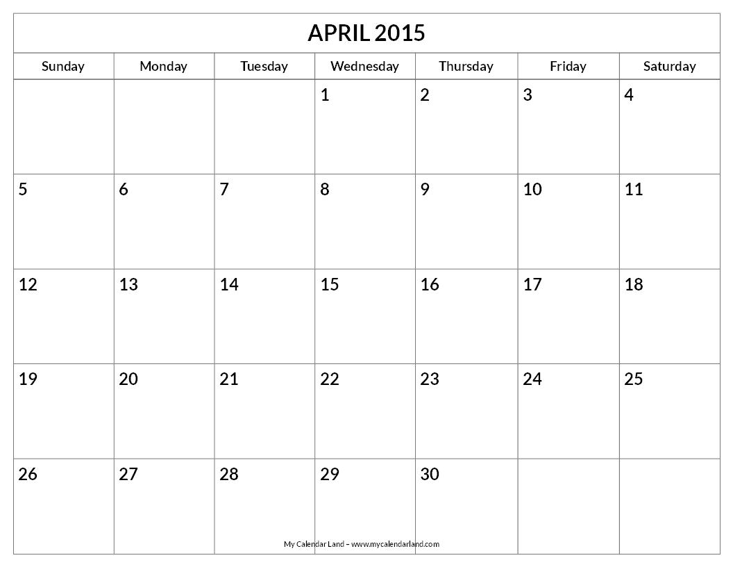 Calendar April Blank : Best images of april monthly calendar printable