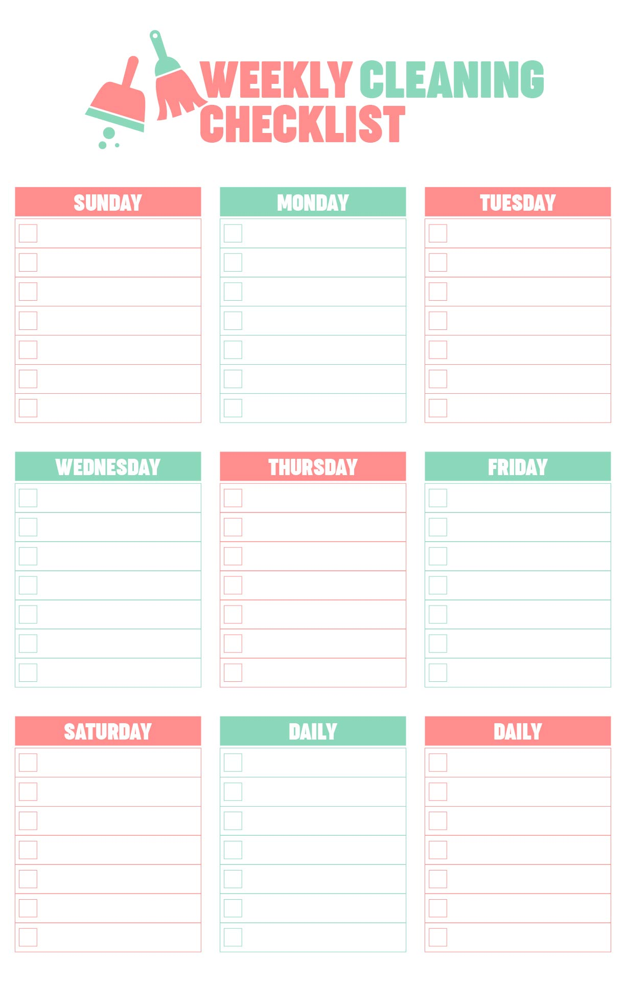 Blank Cleaning Checklist Template
