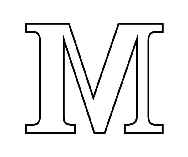 4 best images of printable block letter m block letter m stencil printable  printable block Letter Coloring Pages for Preschoolers  Block Letter Coloring Pages