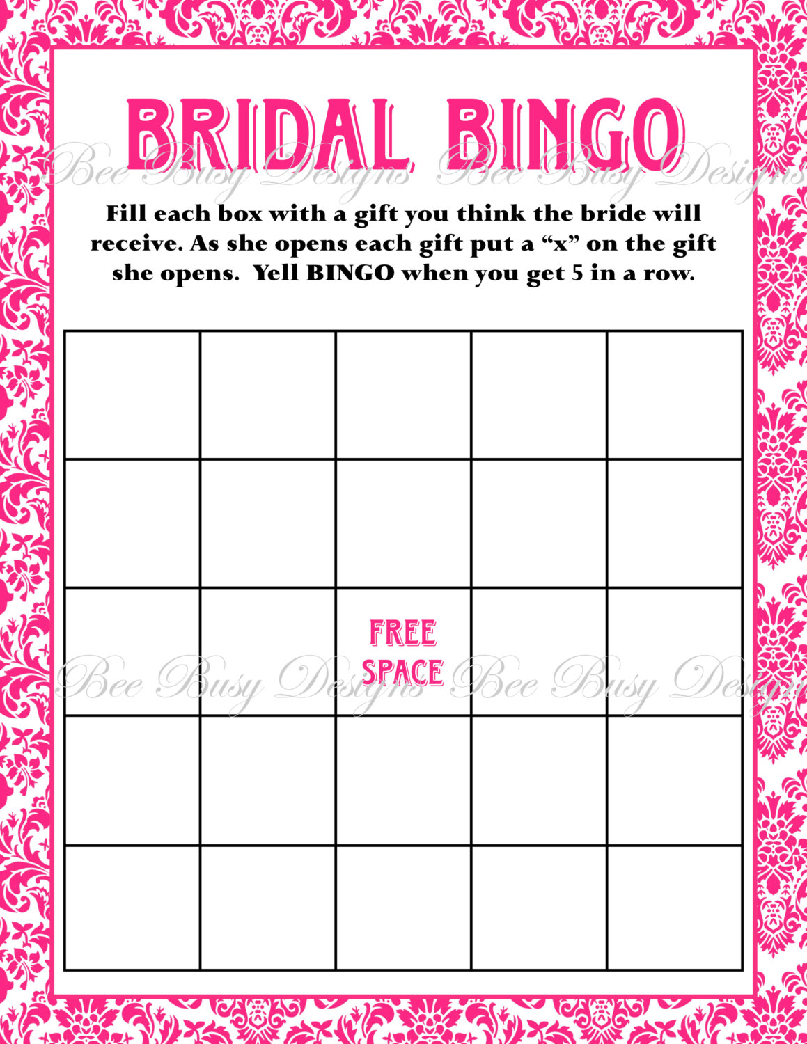 5 Images of Printable Bridal Shower Bingo Template Blank
