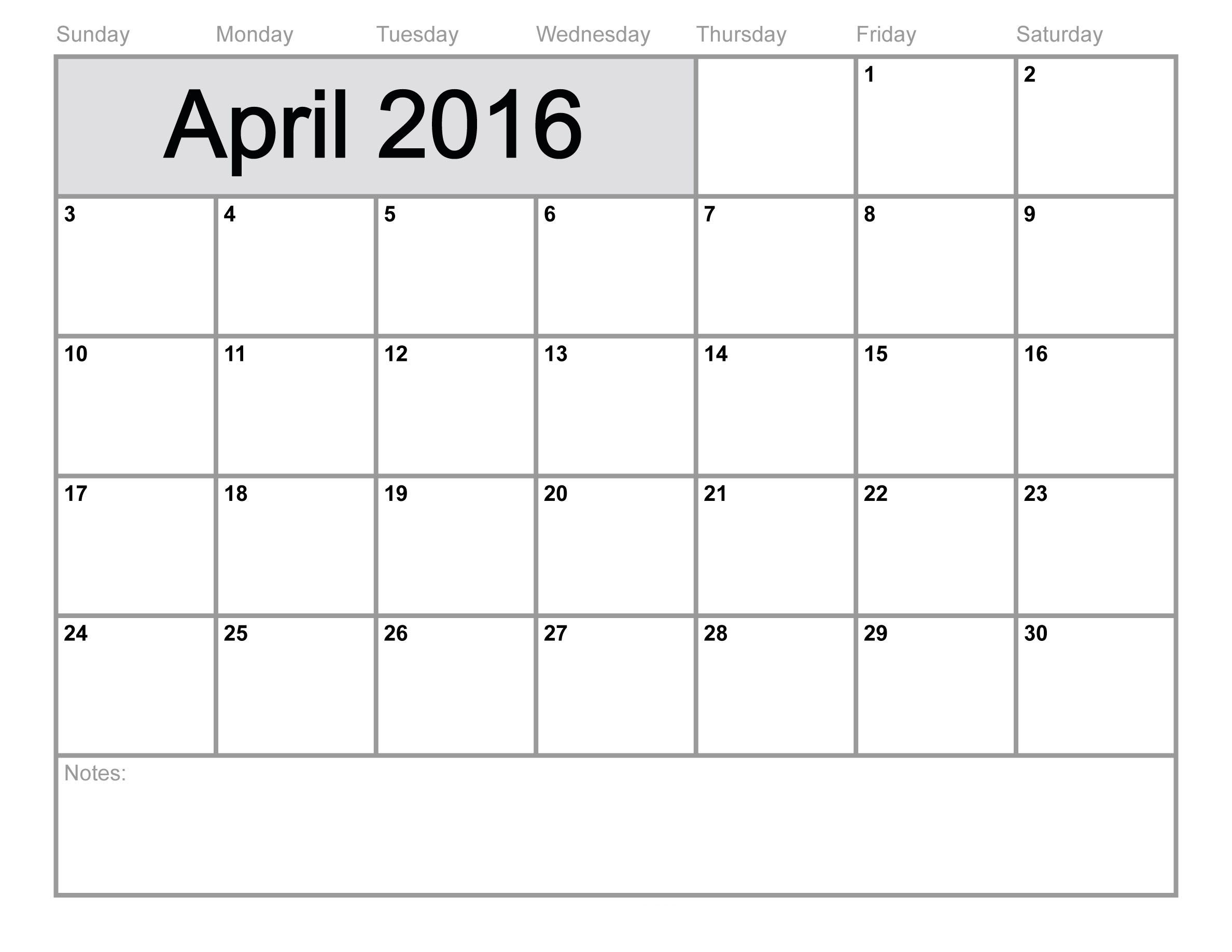 5 Images of April 2016 Calendar Printable