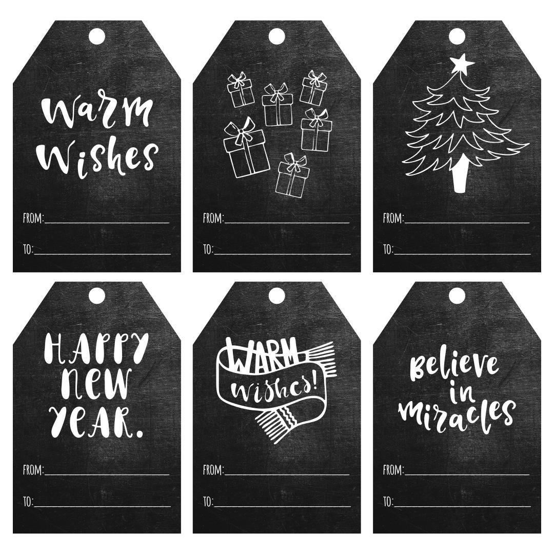 Chalkboard Christmas Printable Tags