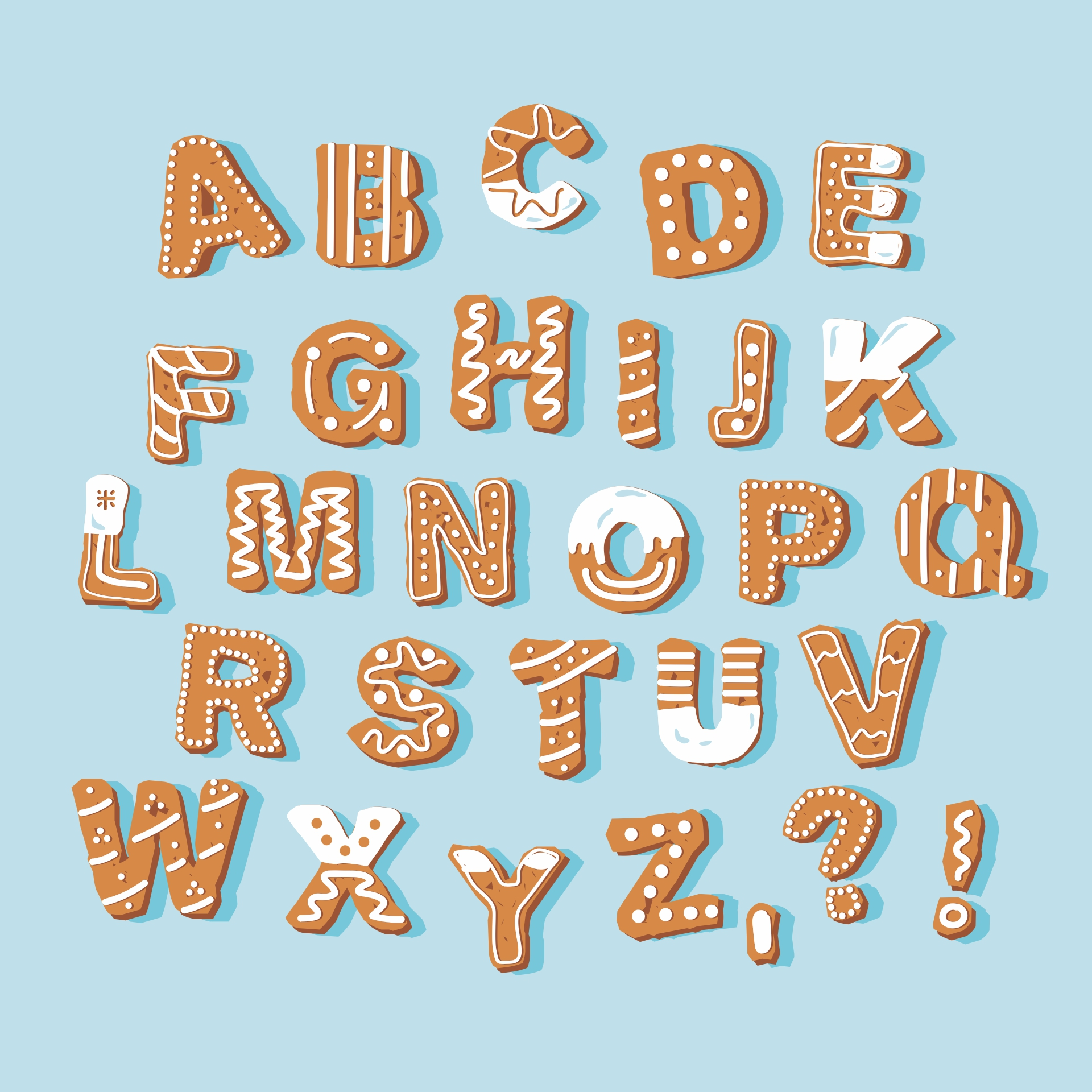 Christmas Bubble Letters Alphabet