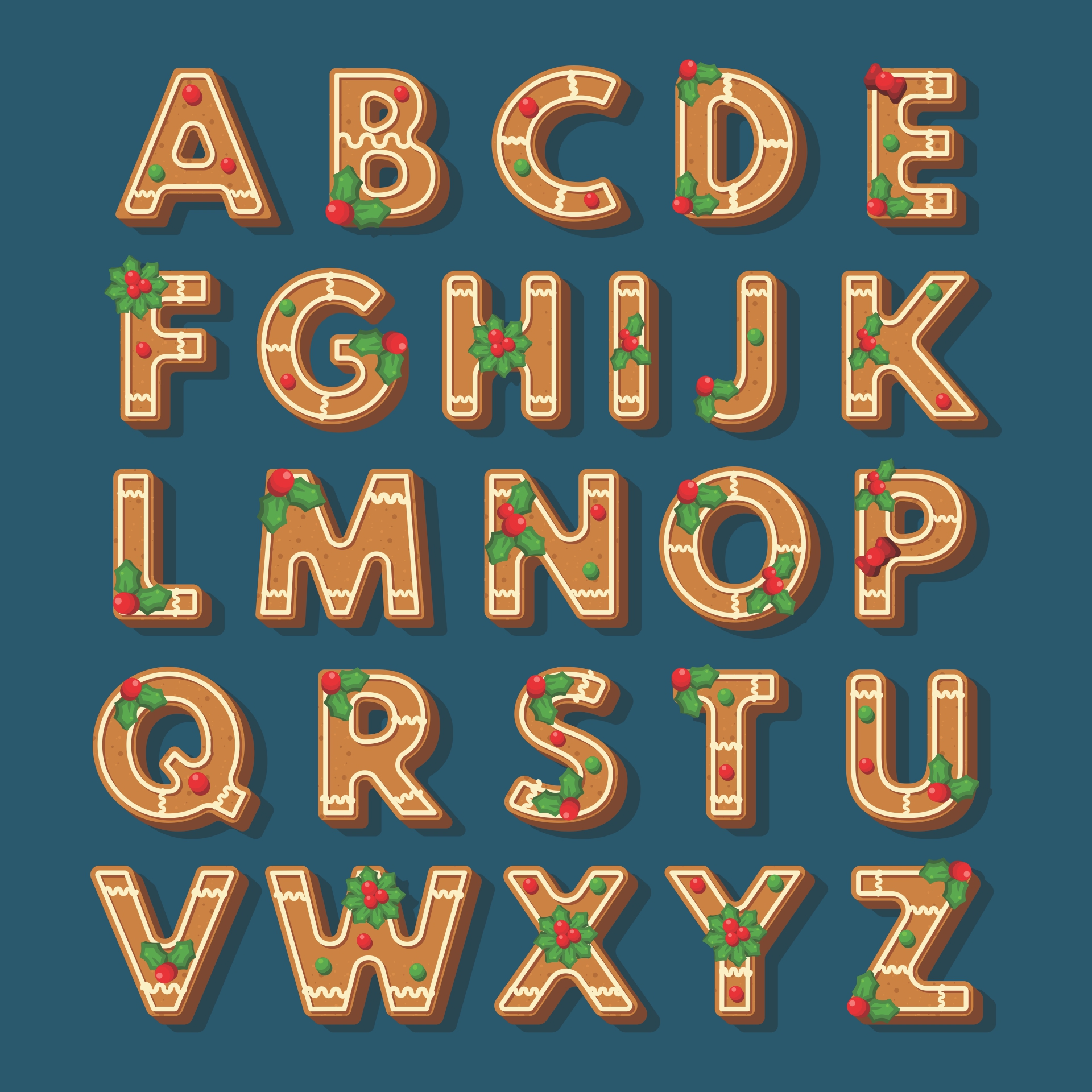 Christmas Bubble Letters to Print