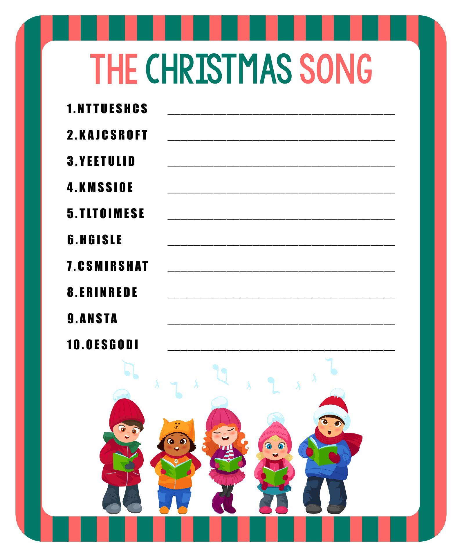 Christmas Song Word Scramble