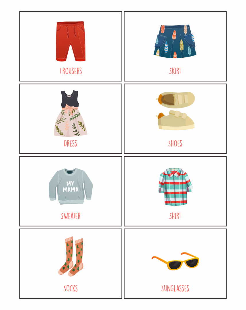 Images of Printable Clothes Flashcards For Toddlers - Free Printable ...