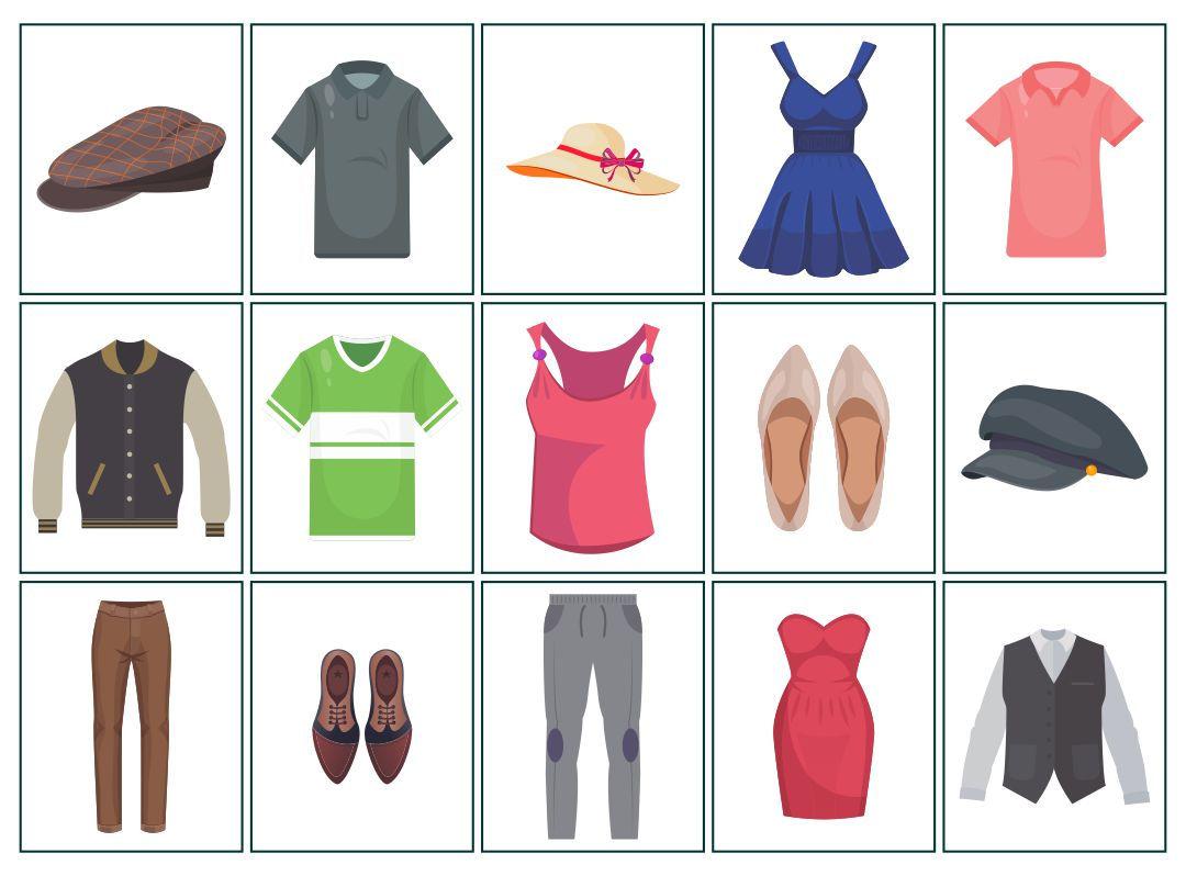 Clothes Flash Cards Printable