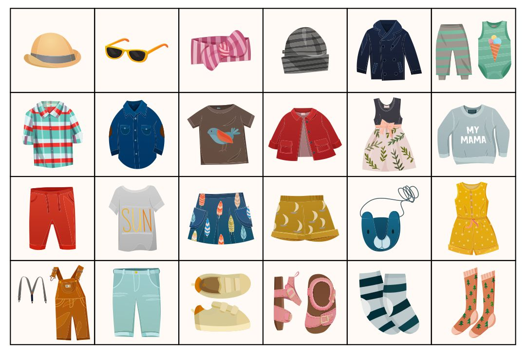 Clothes Flash Cards Printables for Kids