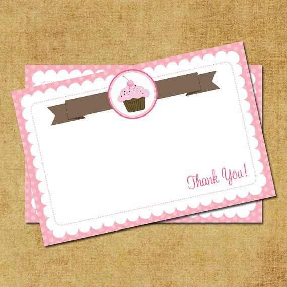 4 Images of Cupcake Thank You Card Printable