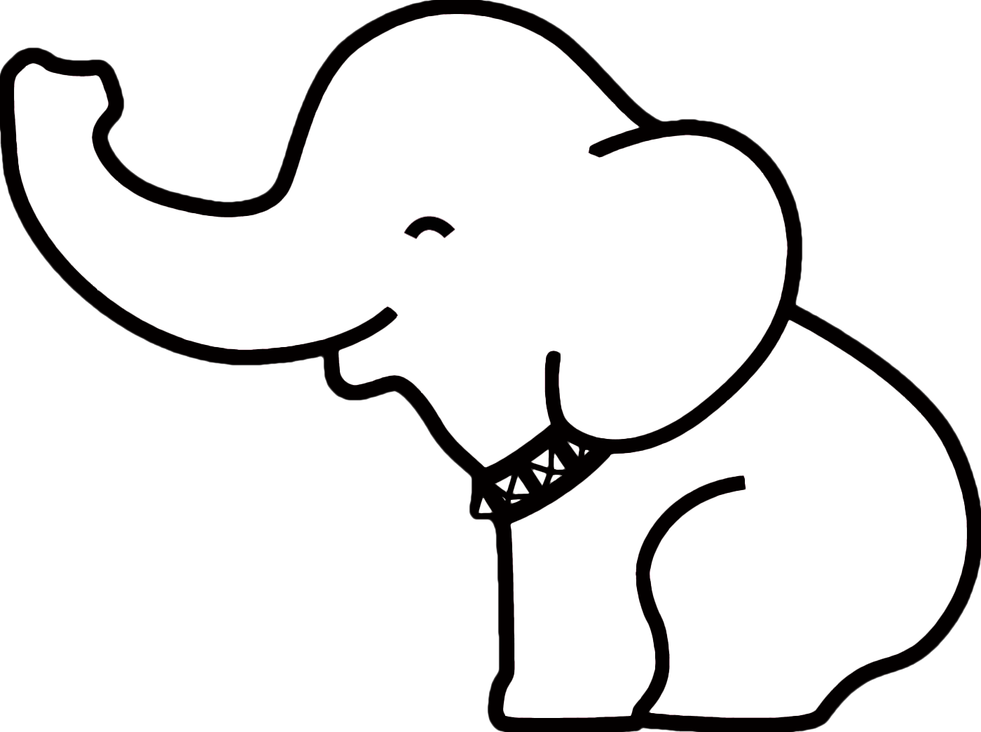 Cute Elephant Outline Clip Art