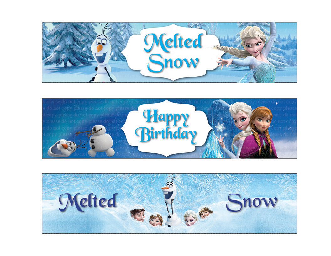 7 Images of Disney Frozen Printable Water Bottle Labels