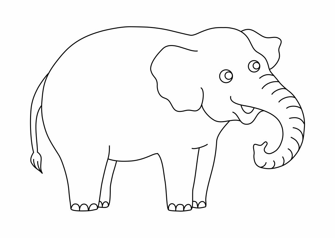 Elephant Outline Template