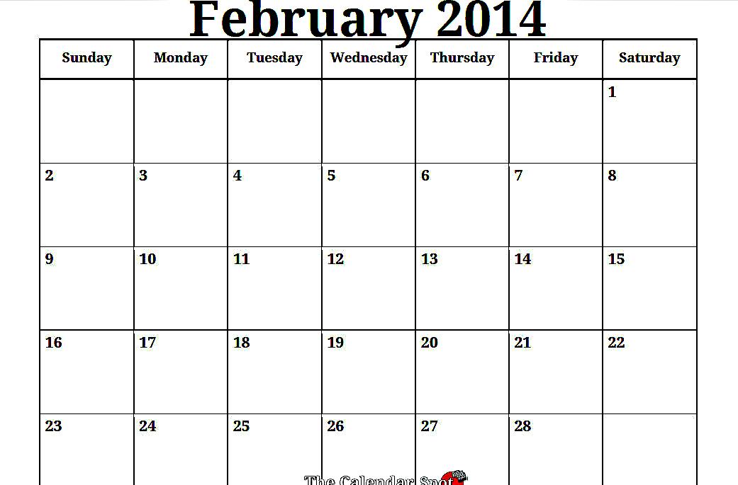 7 Images of Free Printable Blank Calendar 2014