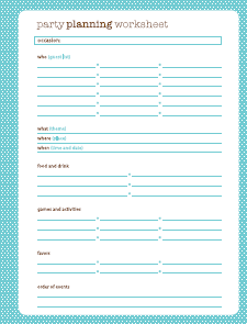 Printables Party Planning Worksheet birthday party planning worksheet versaldobip davezan