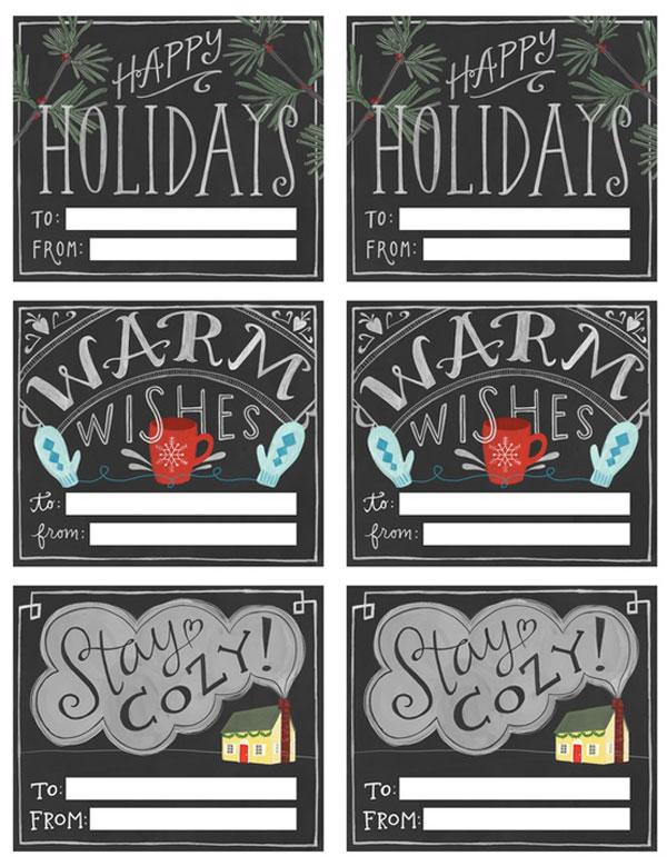 Printable Christmas Gift Tags Chalkboard