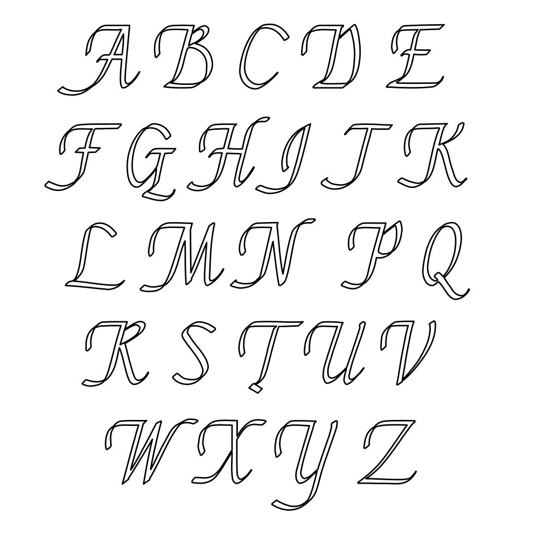 Printable Cursive Letter Stencils