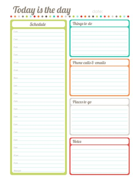 Free Printable Day Planner Templates