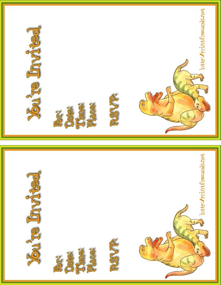 5 Images of Free Printable Dinosaur Invitations