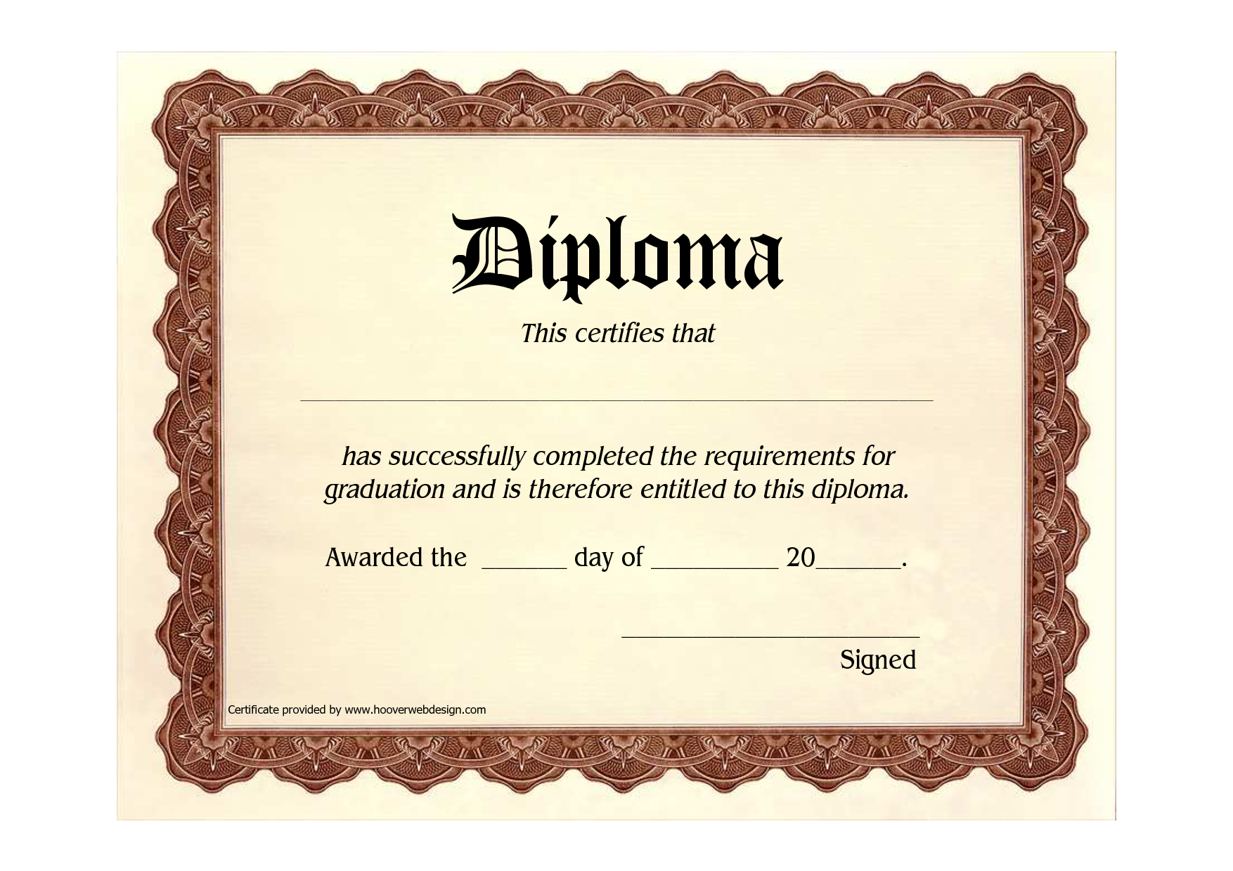 8 best images of free printable graduation certificates for Printable graduation certificate